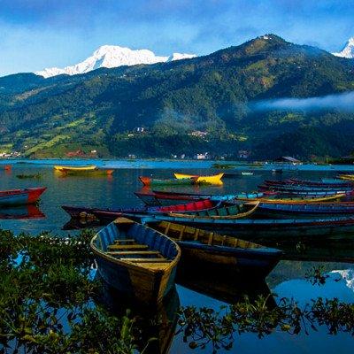 Boats in Phewa Lake, Pokhara Nepal