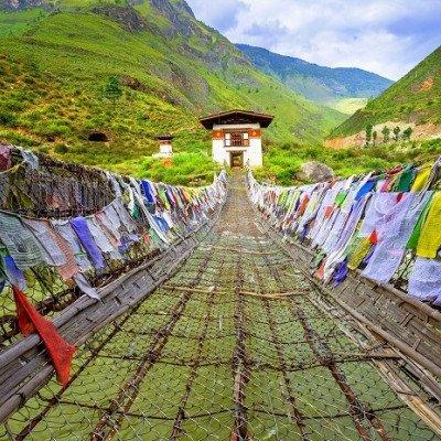Longest suspension bridge in Bhutan over Po Chhu