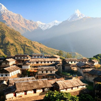 Scenic view of Nepali Village, Hills and Mountains